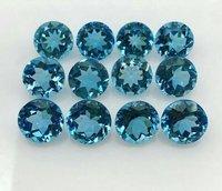 9mm Swiss Blue Topaz Faceted Round Loose Gemstones