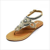 Womens Cream Leather Sandals
