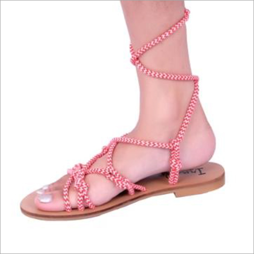 Womens Red Leather Sandals
