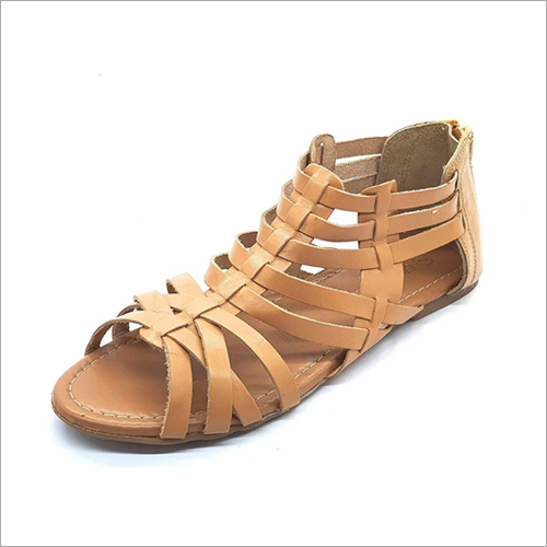 Womens Beige Leather Sandals