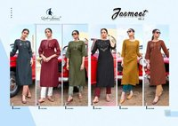 Jasmeet Vol 2 Designer 14 Kg Rayon Strip With Embroidery Work Kurtis