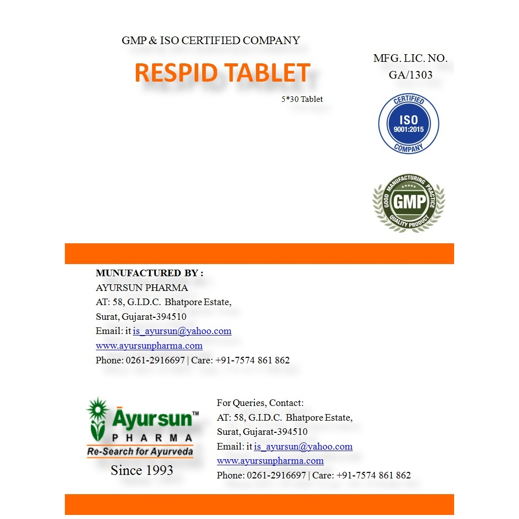 Herbal Ayurvedic Medicine For Respiratory - Respid Tablet