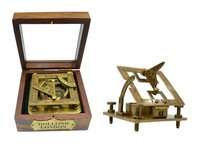 Antique Square Sundial Compass with Box
