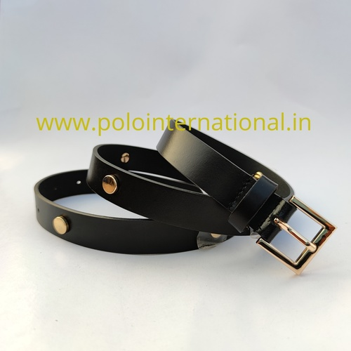 Leather Belt With Metal Trims For Women