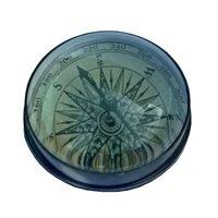 Paper Weight Brass Desktop Compass with Glass Lens