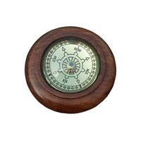 Wooden Round Desk Compass with Lens Glass
