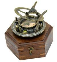 Antique Nautical Brass Round Sundial Compass with Hexagonal Wooden Box