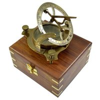 Brown Antique Nautical Sun Dial Compass 4.5 Inch with Wooden Box