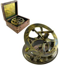 5 Inch Antique Marine Brass Sundial Compass with Box