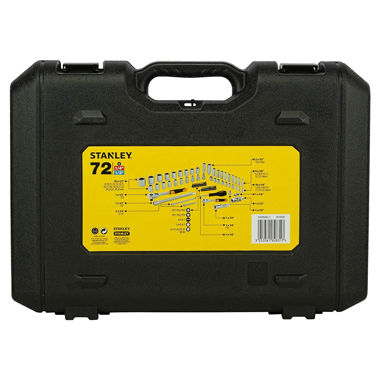 STANLEY 1/2''+1/2'' 72PC Sockets And Ratchets Set