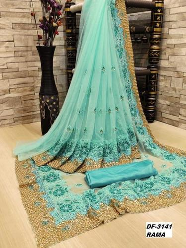 Heavy Net Sarees With Embroidery And Stone Work