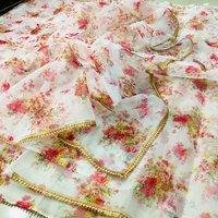 Printed Organza Saree With Golden Zari Lace Work