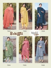 Schiffli Designer 3 Pics Georgette With Ineer With Schiffli Work & Back Said Plain Kurtis
