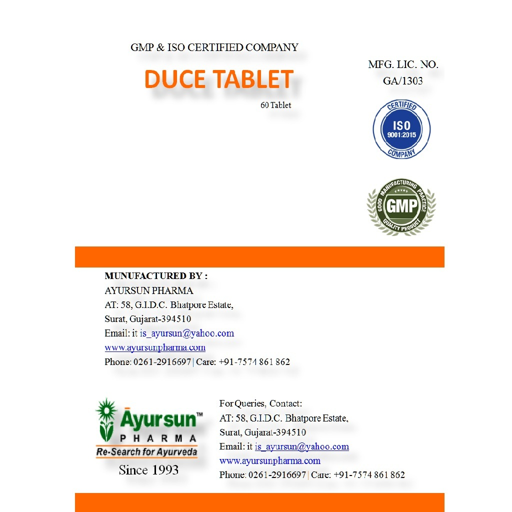 Ayurvedic Herbal Tablet Low Blood Pressure - Duce Tablet