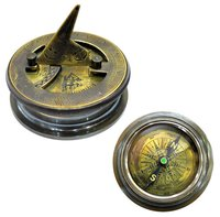1862 Marine Antique Brass Compass with Sundial Lid