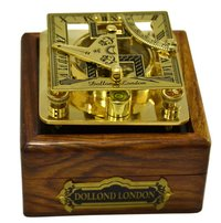 Maritime Brass Square Sundial Compass with Wooden Box