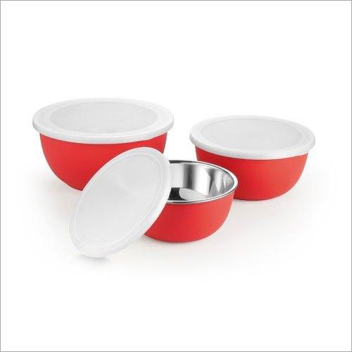 20 cm Red Plastic Coated Bowl Set