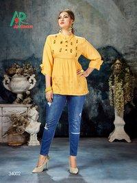 Shrusti Volume 2 Designer Rayon Slub Short Top Kurtis