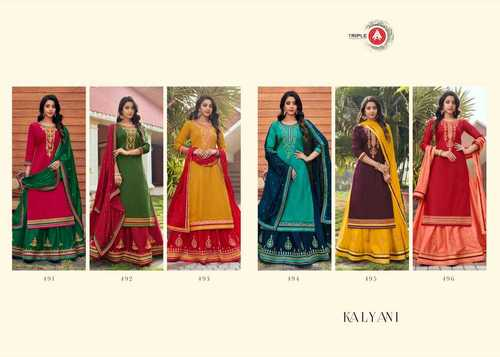 Kalyani Women's Wear Jaam Silk With Embroidery Work Dress Materials