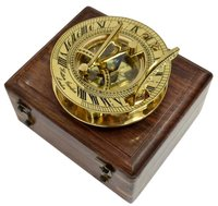 Brass Round Sundial Compass with Box