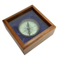 Nautical Antique Brass Flat Compass with Glass Top Box