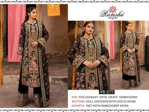 Beautiful Black And Red Color Georgette Semi Stitched Pakistani Suit