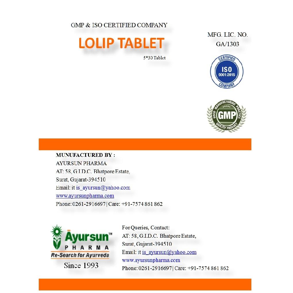 Ayurvedic Tablet for higher lipid phosphate level - Ayursun  lolip Tablet