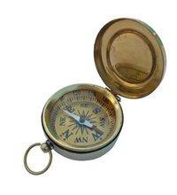 Brass Flat Compass With Golden Dial
