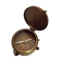 Brown Nautical Brass Flat Compass With Lid