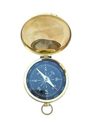 Black Dial Brass Flat Compass with Lid