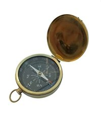 Golden Dial Nautical Flat Compass With Chain