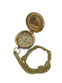 Nautical Brass Flat Compass With Chain