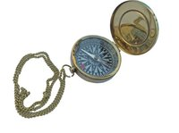 Nautical Brass Pocket Compass With Lid & Chain