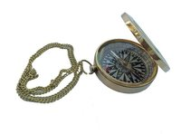 Brass Nautical Flat Compass With Chain