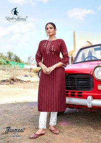 Ladies Flavour Jasmeet Vol 2 Rayon With Embroidered Kurti With Bottom Catalog