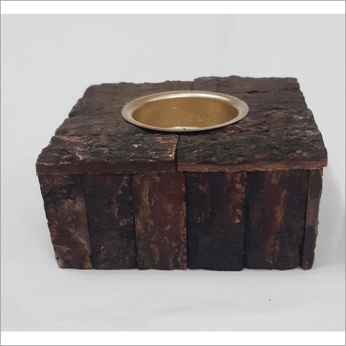 Wood Bark Tea Light Holder Small