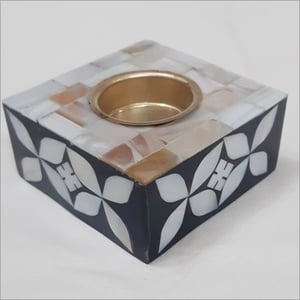 Mother Of Pearl Candle Holder Square