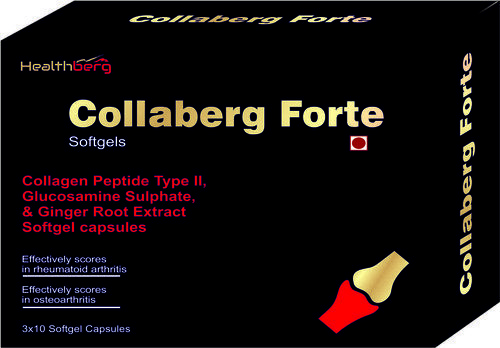 Collagen Peptide Type 2 Glucosamine Sulphate & Ginger Root Extract Softgel Capsules