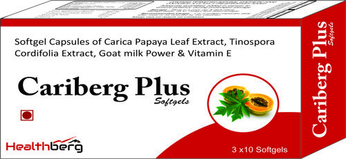 Softgel Capsules Of Carica Papaya Leaf Extract, Tinospora Cardifolia Extract, Goat Milk Powder & Vitamin E