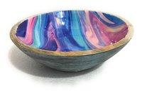 Stylish Mango Wood Bowl With Meena