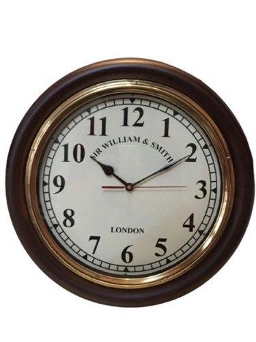 Wooden Round Brass Wall Clock