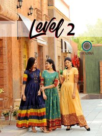 Level 2 Designer Heavy Cotton Print With Manual Work Kurtis