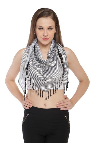 Satin triangle scarves with heavy beaded
