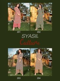 Culture Vol 2 Designer Capsule Rayon Foil Print Kurti With Plazzo