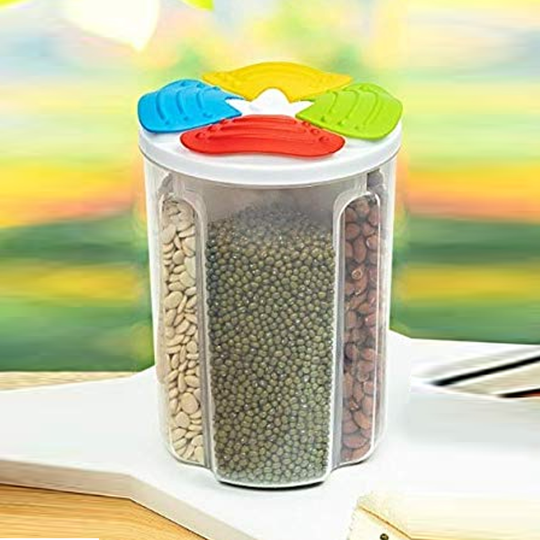 4 Sections Air Tight Transparent Plastic Food Storage Container