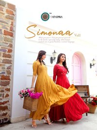 Simonaa Vol 1 Designer Heavy Rayon Stripes With Work (Liva Approved) Kurtis