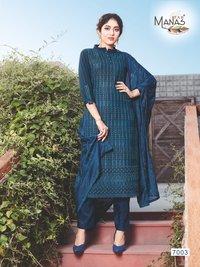 Manas Fab Schiffli Georgette With Work Readymade Suit Catalog
