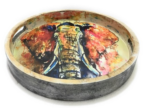 Elephant Design Multicolour Round Wooden Tray