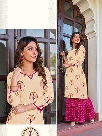 Privivah Vol 1 Designer Liva Rayon With Gold Printed Kurti With Bottom And Earring