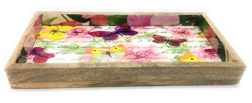 Hot Selling Multi Color Rectangle Flower Design Tray